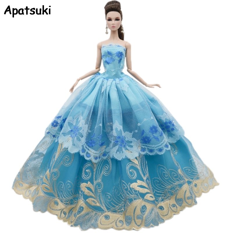 Blue Flower Lace Wedding Dress For Barbie Doll Outfits Multi-layer Clothes Party Gown For 1/6 BJD Dolls Accessories Toys
