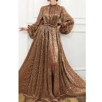 sparkling gold sequins evening dresses high neck split prom dress shiny long sleeves floor length women party dresses