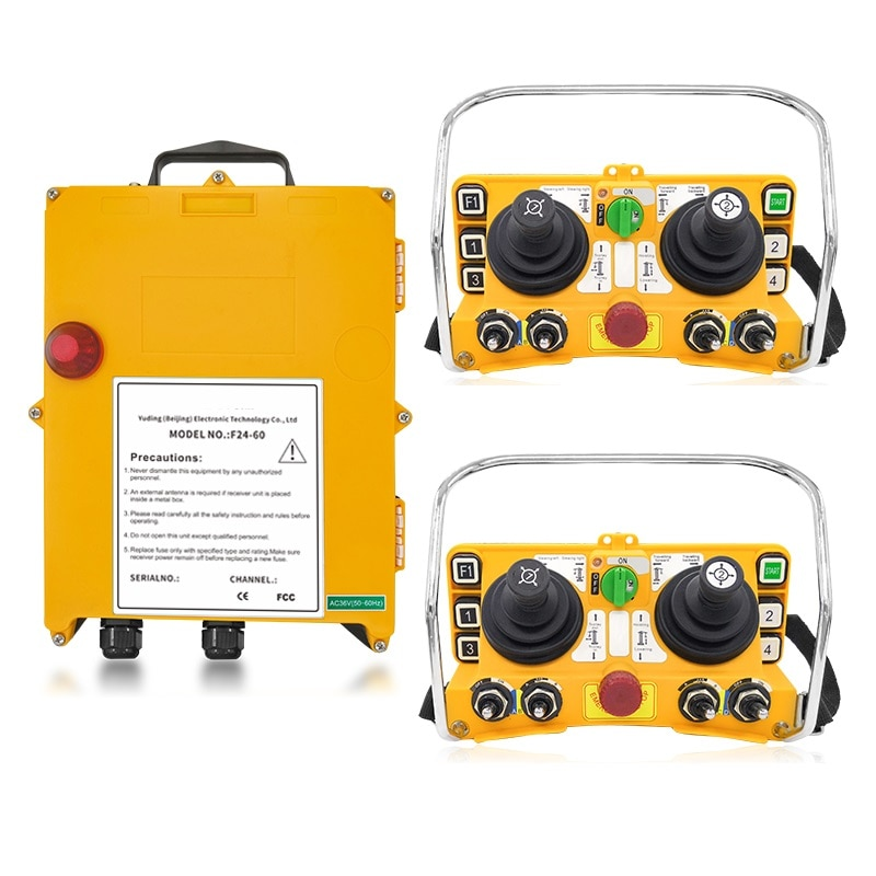 F24-60 industrial wireless universal radio remote control for overhead crane AC/DC 2transmitter and 1receiver high quality f24 60 industrial joystick remote control crane wireless remote control