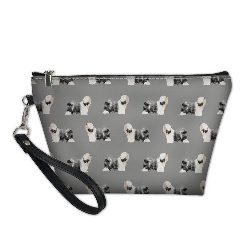 Вместительные косметички для женщин, милые косметички с принтом тибетской собаки терьера, дамские дорожные сумки для хранения туалетных пр...