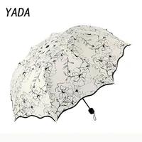 yada 2021 premium quality flowers pattern lace umbrellas rain uv 3 folding umbrella for women designer umbrellas female ys210014
