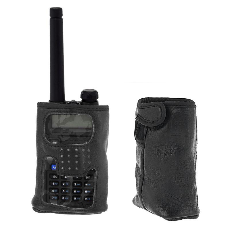 Funda de cuero Walkie Talkie cubierta protectora para Yaesu VX-6R/7R Radio de mano QX2B