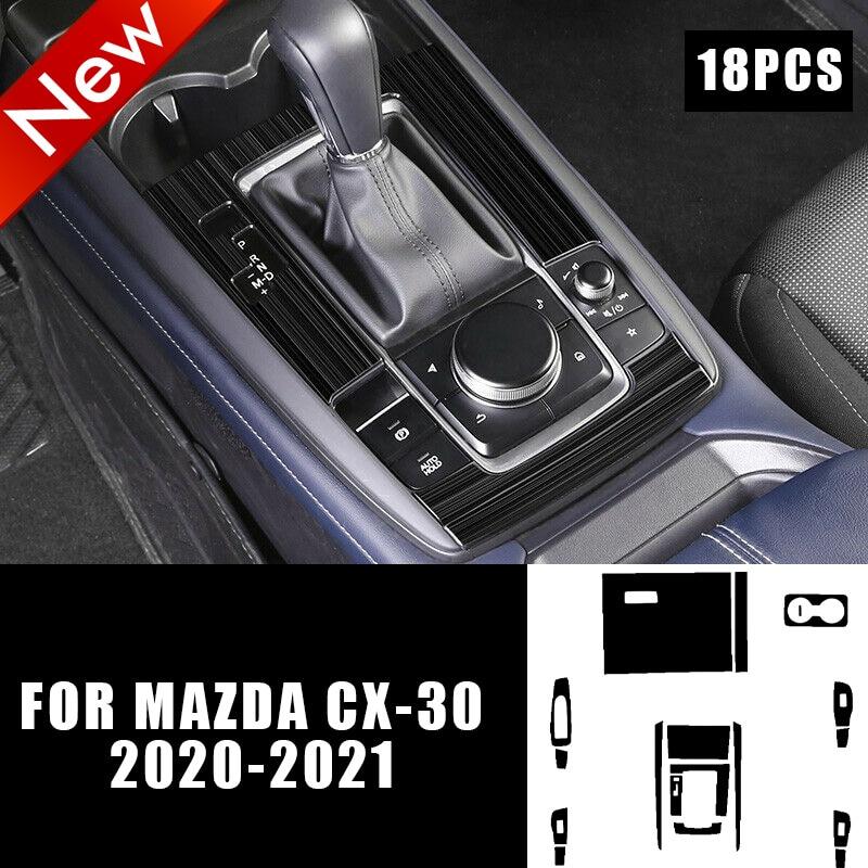 Car Central Console Gear Shift Panel Stickers Carbon Fiber Car Film for Mazda CX-30 2020-2021 Automotive Interior Stickers