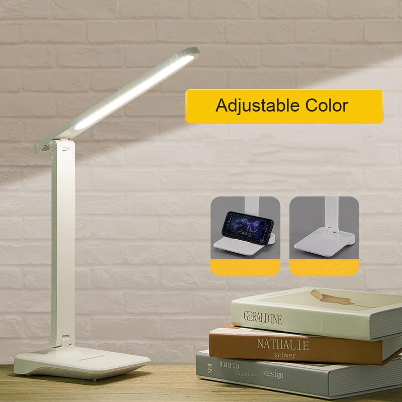 Сенсорная светодиодсветодиодный Настольная лампа с сенсорным управлением, регулируемая яркость, защита глаз, зарядка через USB, 9 Вт