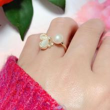 Natural freshwater pearl ring for women 2021 new bow zircon opening ring fashion jewelry engagement