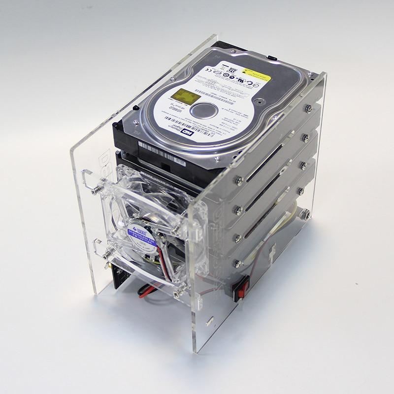 Soporte de expansión de disco duro DIY HDD 3,5 NAS 4 estantes externos de Disco soporte de fuente de alimentación estante acrílico transparente