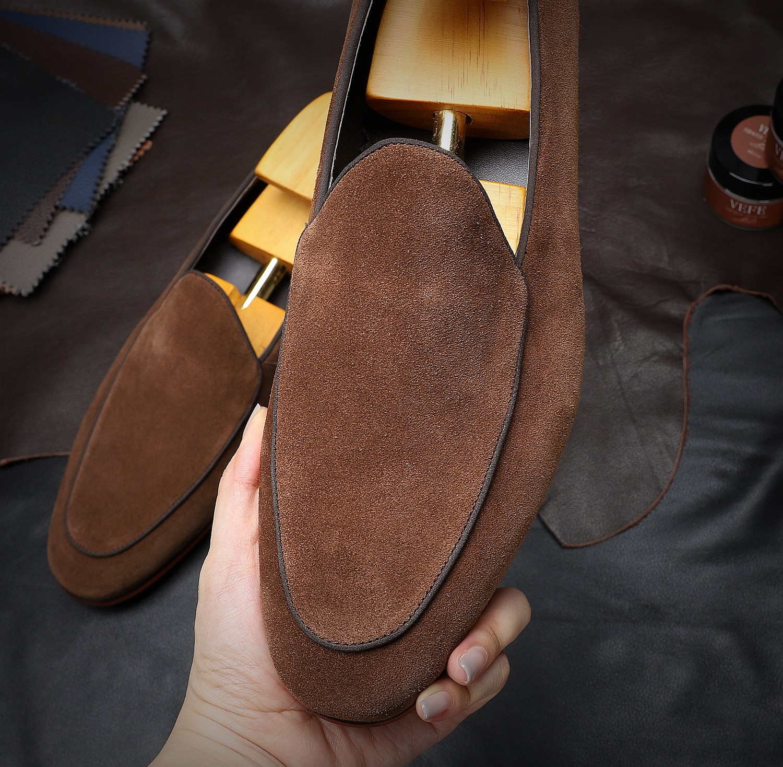 Hanmce موضة دعوى قضائية انجلترا حذاء كاجوال يدوية فاخرة المتسكعون جلد أصلي للرجال