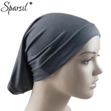 Sparsil femmes automne coton mélange Hijabs musulman couleur unie Bonnet casquette extensible Turban Bonnet bonnets cheveux accessoires 20 couleurs