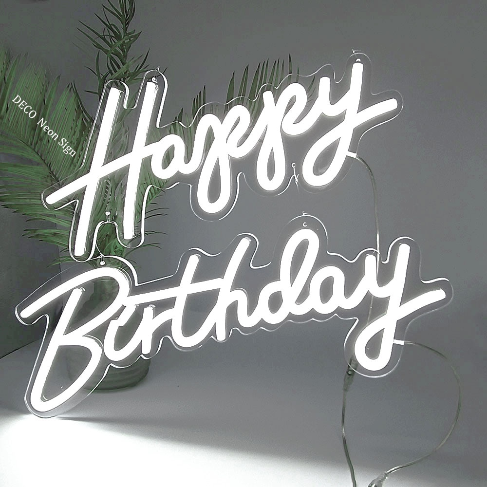 Custom Logo Happy Birthday Led Flex Transparent Acrylic Wall Decor Neon Sign Light Letter Board Party Background Creative Gift enlarge