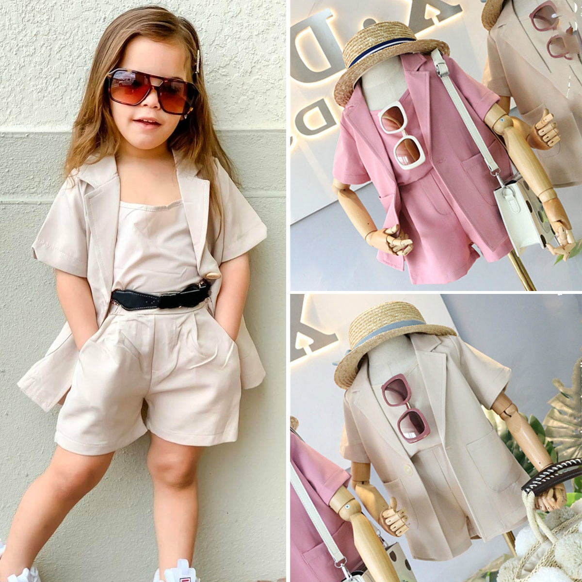 2-7y moda infantil bebê meninas conjuntos de roupas 3pcs sólido colete tops + manga curta blazer casaco + shorts outfits