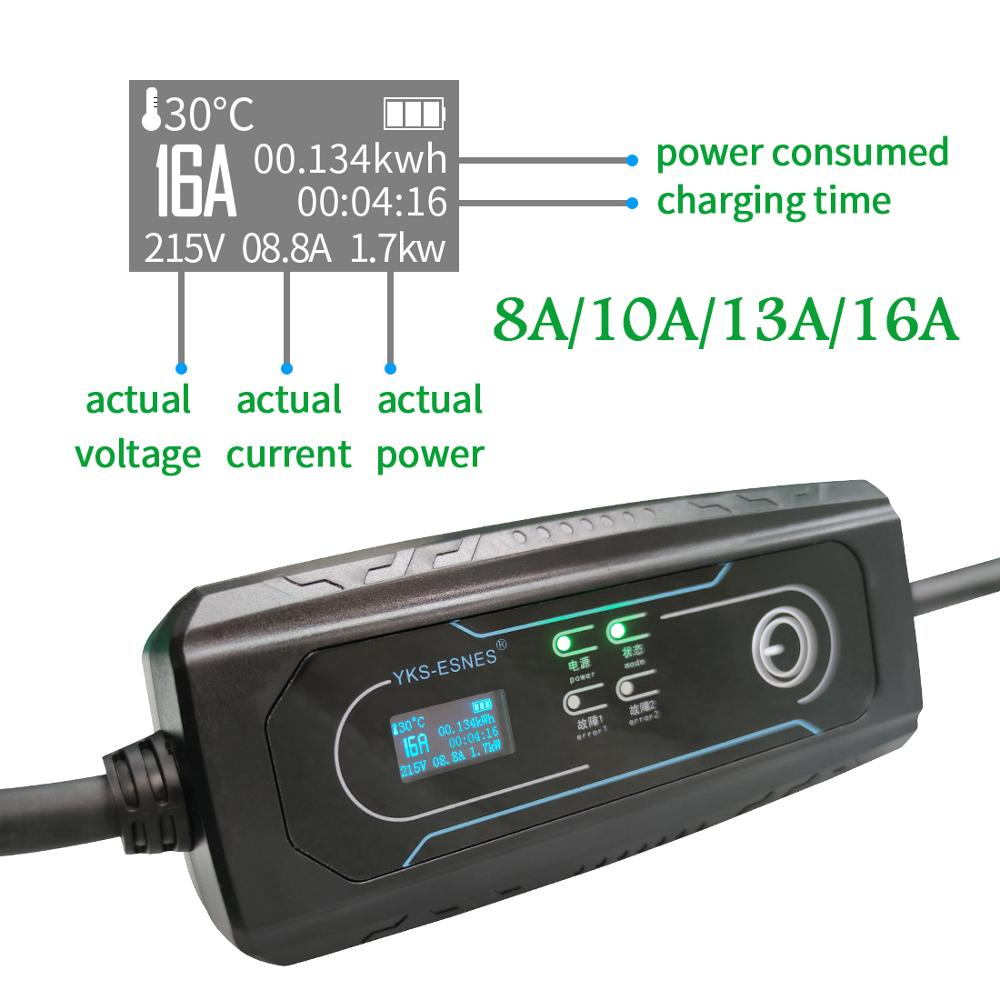 YKS-ESNES  Portable EV Charger type 1 with Schukou Plug 10A/16A  19.86Ft enlarge