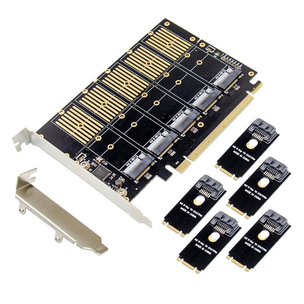 مهايئ توسيع بطاقة مهايئ من PCIE Gen3 X16 إلى 5 مداخل M.2 NGFF B-Key SATA 6Gbps إضافة 5x B-key SSD/SATA للقرص الصلب لـ شيا تلاعب
