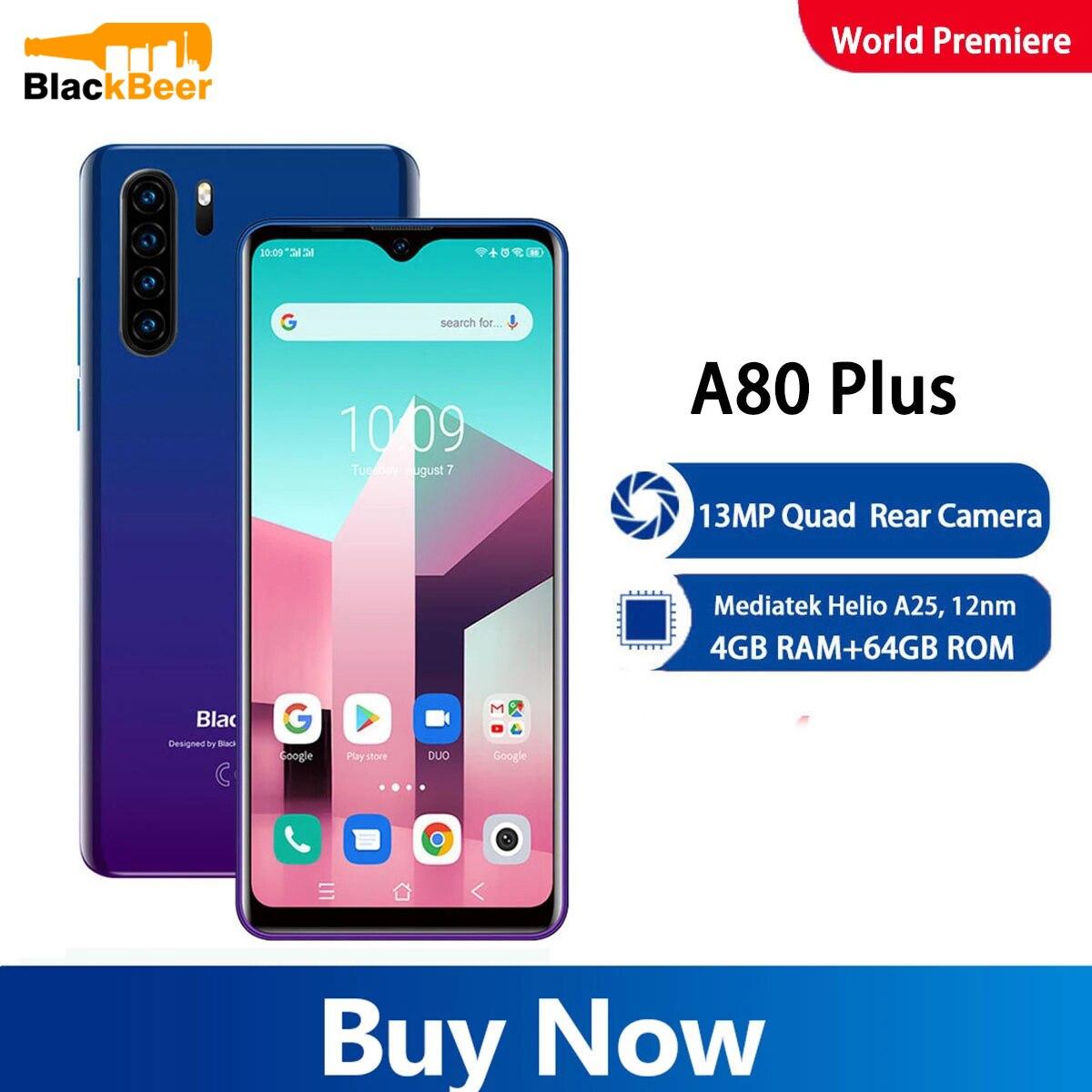 Перейти на Алиэкспресс и купить Blackview A80 Plus 6,49 дюйм4G мобильный телефон Helio A25 Android 10,0 мобильный телефон 4 Гб 64 Гб восьмиядерный смартфон 13 МП Sony камера 4680 мАч