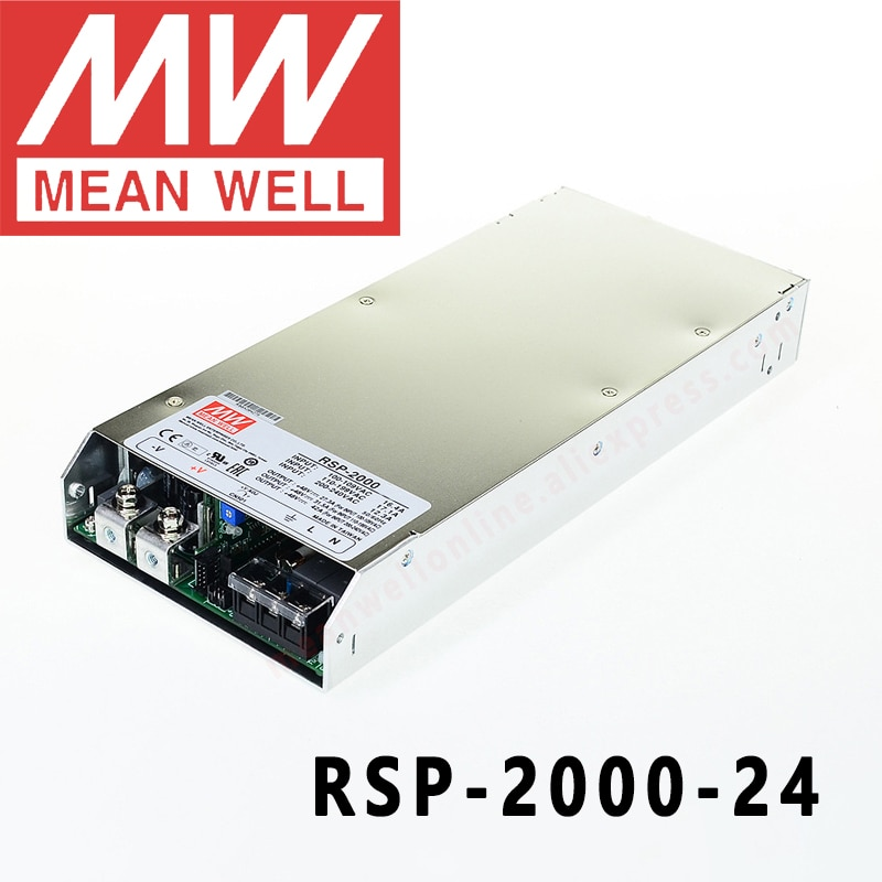 الأصلي يعني جيدا RSP-2000-12/24/48 سلسلة ميانويل 12 فولت/24 فولت/48VDC 2000 واط إخراج واحد مع وظيفة معامل تصحيح الطاقة امدادات الطاقة
