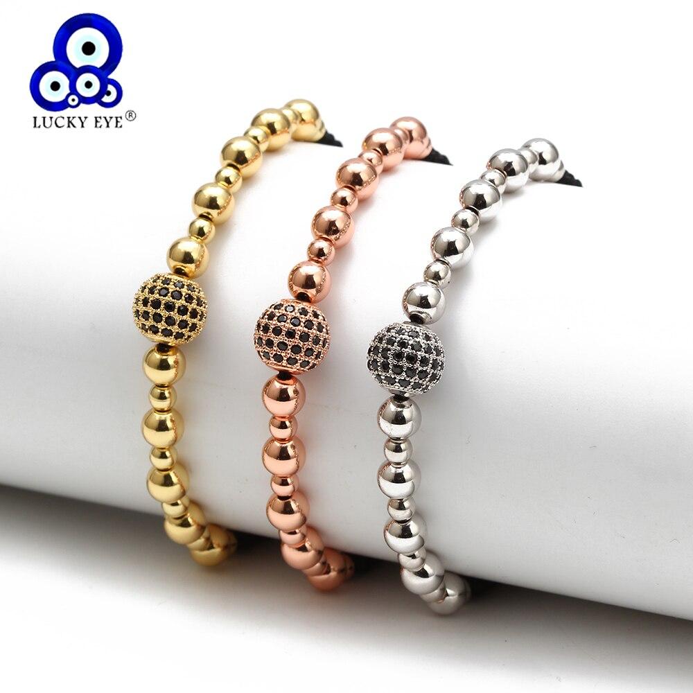 Bracelet à breloques boule oeil chanceux or Rose couleur argent perles chaîne de corde Bracelet tressé réglable pour femmes filles bijoux BD72