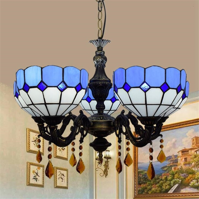 5 Heads Mediterranean Sea Tiffany Suspension for Foyer Dining Room Restaurant Bar European Blue White Glass Pendant Light 1198  - buy with discount