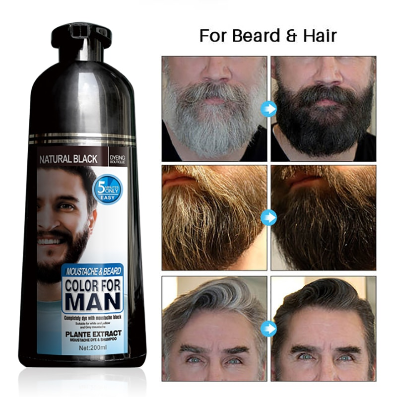 200ml Mokeru Black Shampoo Beard Dye Shampoo Permanent Men Hair Dye Covering White Grey Hair Suitable For Beard and Head Hair