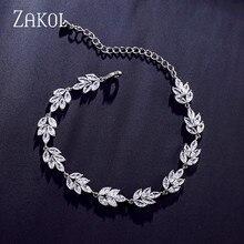 ZAKOL Luxus Hohe Qualität Shiny Weiß Zirkonia Kette Armbänder für Frauen Hochzeit Kristall Schmuck Geschenk FSBP2103
