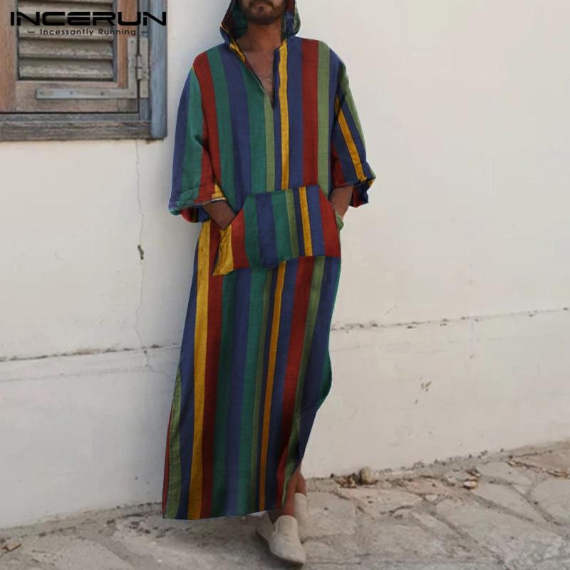 INCERUN Retro Men Striped Muslim Jubba Thobe Cotton Hooded Pockets Robes Long Sleeve Islamic Arabic Kaftan Men Dubai Abaya 5XL 7