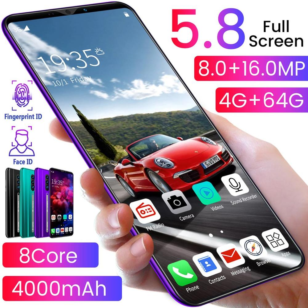 Purple Water Drop Screen Smartphone Rino3 Pro 5.8 Inch Screen Android Phone Solid Color Mobile Phone Cool Shape Fashion dropship enlarge