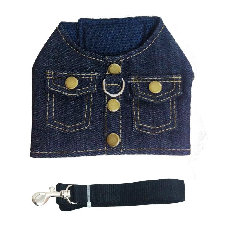Denim jacket chest back dog chest strap dog vest wholesale spot wholesale Teddy Pomeranian small dog