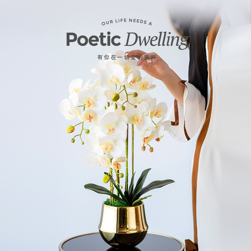 Высший сорт искусственный фаленопсис цветы бонсай в горшках пейзаж PU ощущение ламинирования стикер с бутылкой для большинства мест