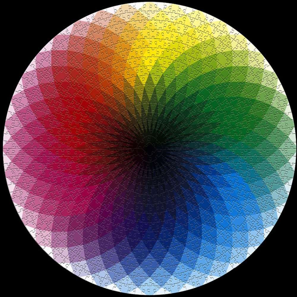 1000 pçs colorido arco-íris redondo geométrico foto quebra-cabeça adulto crianças diy educacional reduzir o estresse brinquedo quebra-cabeça presente