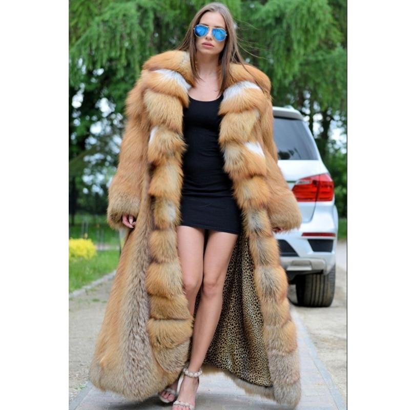 120 سنتيمتر طويل ريال الفراء معطف المرأة الشتاء موضة الجلد كله الأحمر الثعلب الفراء معطف مع كبير بدوره إلى أسفل طوق معاطف الفراء العصرية 2021