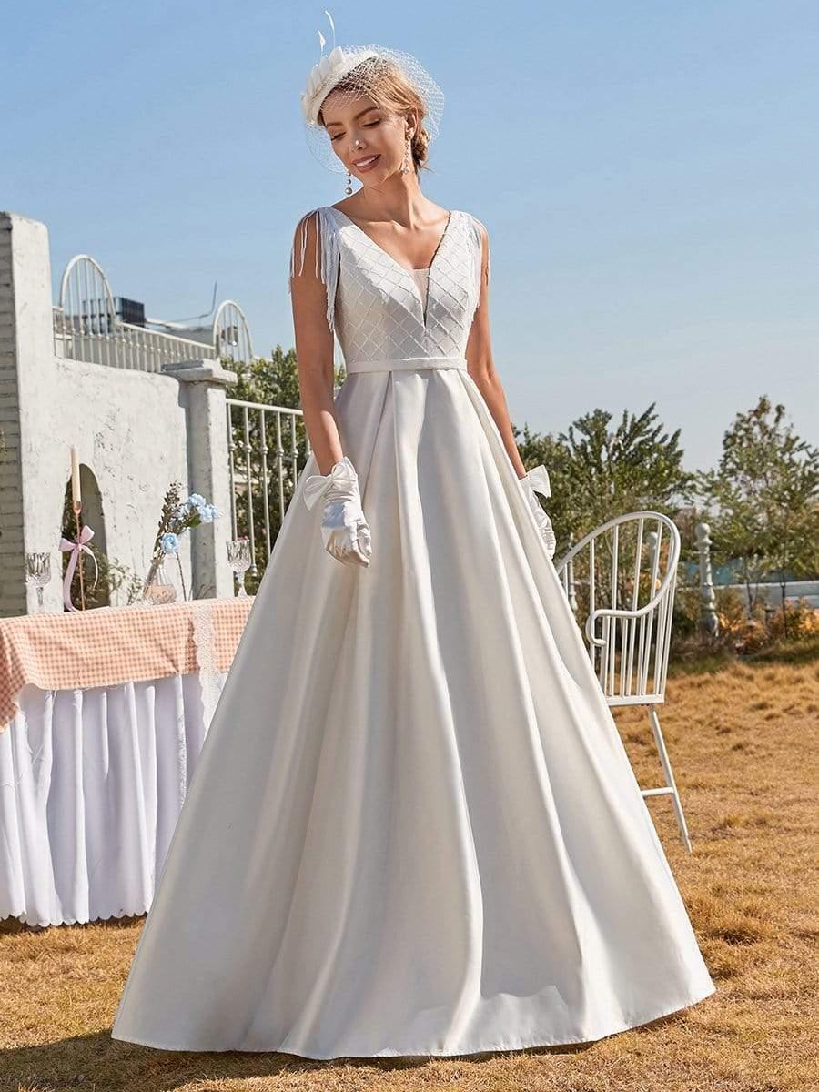 Get Elegant Wedding Dress Satin With A-line Floor Length V-neck Sleeveless Tassel Bride Gowns Backless Cheap Vestido De Novia