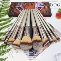 Кисть для макияжа ZZDOG, Профессиональная деревянная ручка, натуральный ворс, цвет шампанского, 1 шт.