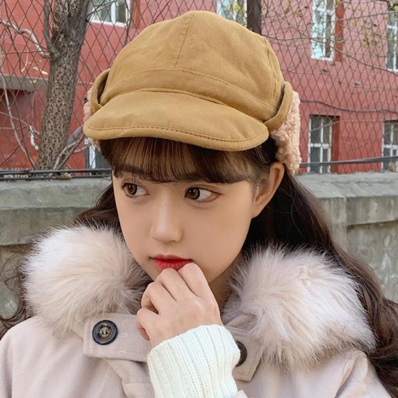New Fashion Autumn Winter Hat Women Thick Warm Earflap Cap Female Russian Hat Ladies Solid Plain Rid