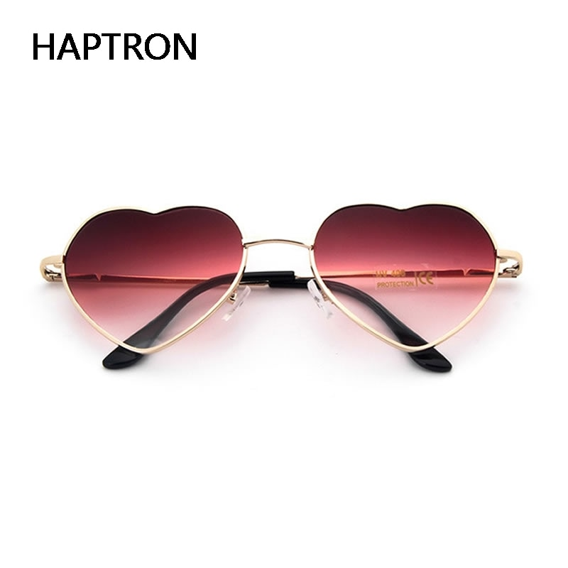 HAPTRON fashion Heart Shaped Sunglasses women metal clear red lens glasses Fashion heart sun Mirror oculos de sol