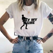 Camiseta de Mujer Plus Los Kpop ATEEZ Say my name blanco con letras impresas, camisetas de verano para mujer