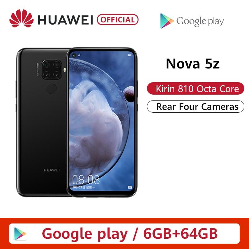 Originele Huawei Nova 5z 6 Gb 64 Gb 128 Gb Smartphone Nova5z 48MP Camera 32MP Front Camera 6.26 ''Volledige screen Kirin 810 Android 9