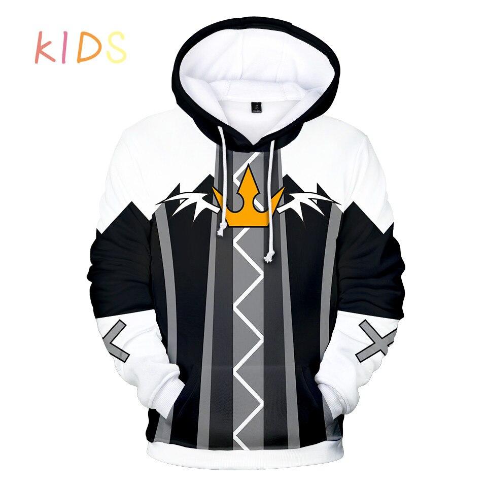 Hoodies masculinos jogo reino corações 3d moda harajuku sweatshirts corações do reino hip hop streetwear crianças hoodies
