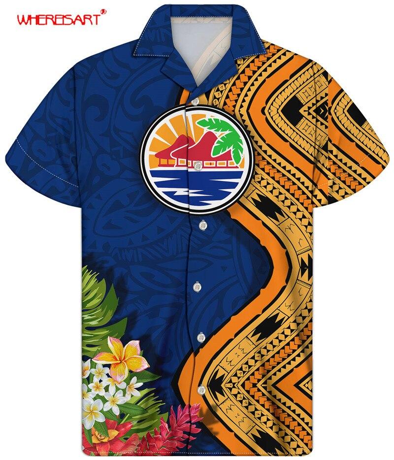 WHEREISTAR размера плюс мужские рубашки и футболки, повседневные пляжные шорты на полинезийской Племенной Стиль летний Куба свободные трусы, вы...