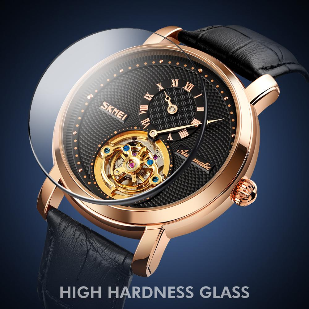 2021 Fashion Business Automatic Mechanical Watch Men Gyro Decoration Mens Wristwatches Leather Strap Clock SKMEI Reloj Hombre