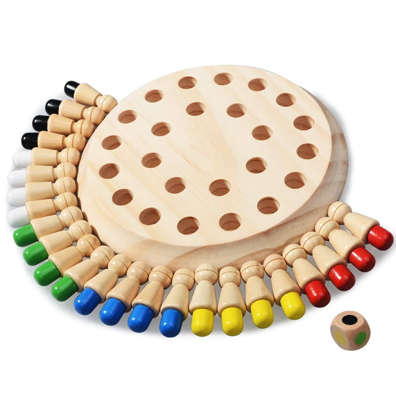 Kids Montessori Educational Wooden Toys Learning Color Sensory Toys Memory Match Stick Chess Puzzle Game Party Game For Children