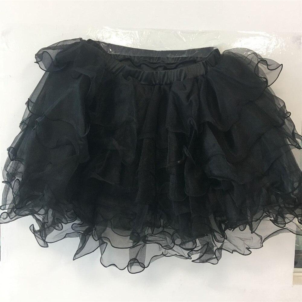 6 + 1 capas de malla suave de gasa negro enagua Rockabilly Swing Pettiskirt falda TUTU Bubble SKIRT