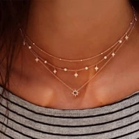 bohemia charm shiny gem crystal star choker beads chain tassel pendant multilayer clavicle neckace women gold party jewelry