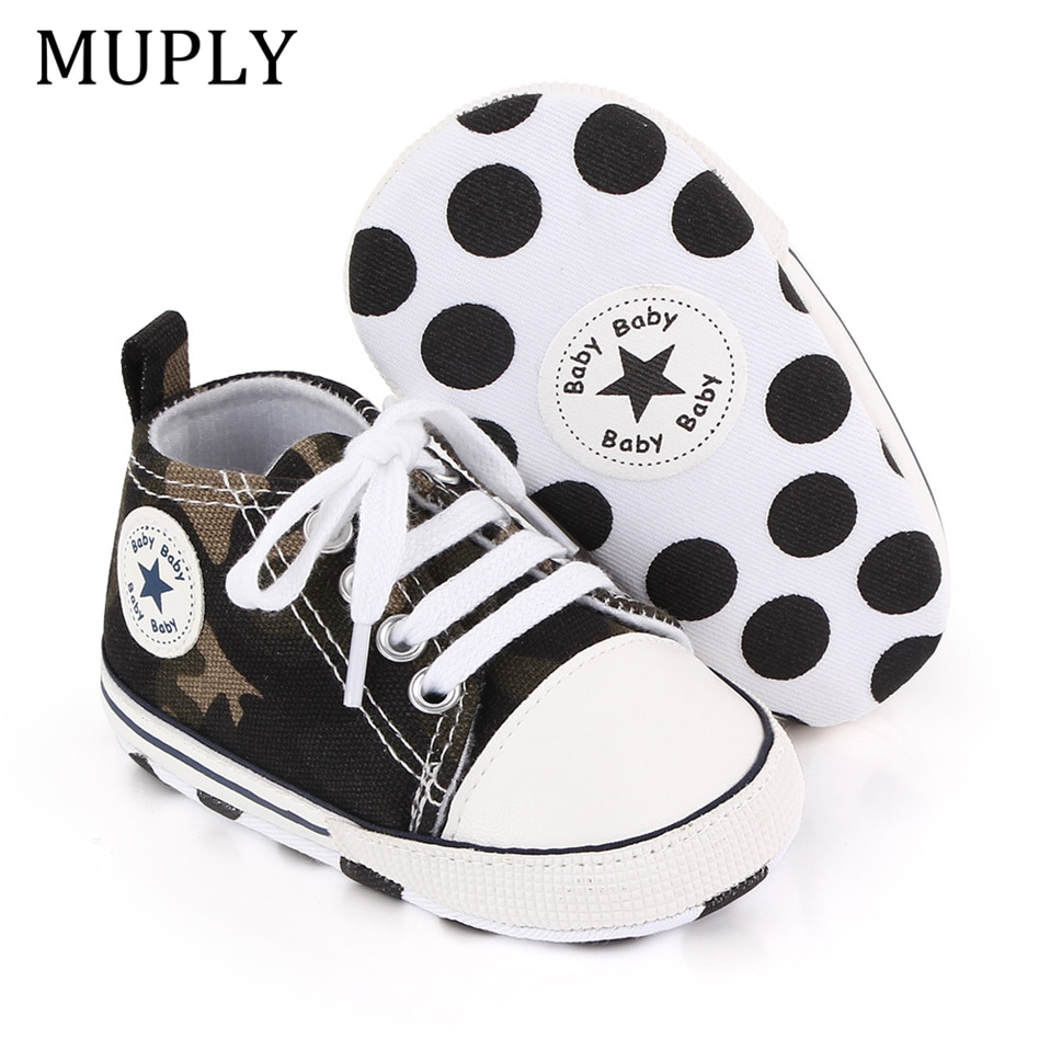 Baby Canvas Classic Sports Sneakers Newborn Baby Boys Girls Print Star First Walkers Shoes Infant To