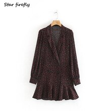 Star firefly fashion Za dress female 2019 autumn casual slim elegant pleated flower print official blazer dress women