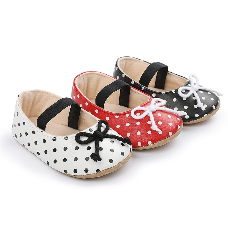 0-1 Year Old Dot Princess Shoes for Girls Black, Beige and Red Baby Walking Shoes for Newborn Bow Infant Shoes for 1 Y Girl