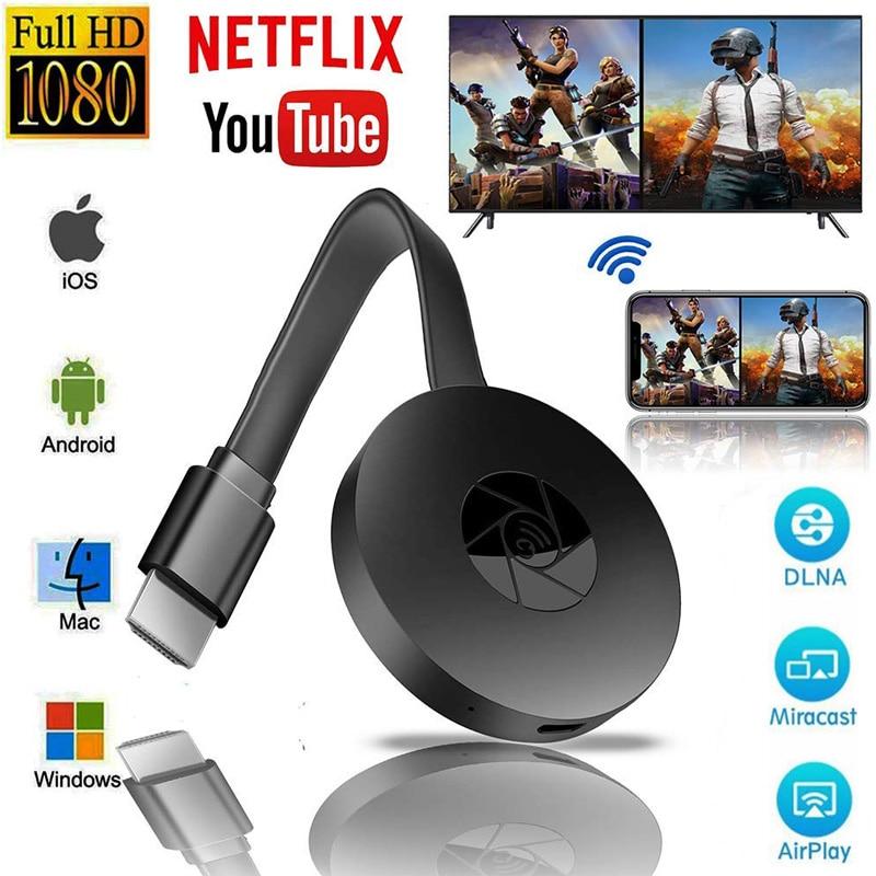 TV Stick para Chromecast 2 Netflix, Youtube Spotify Wifi Dongle 1080P Android IOS Tablet 5G HDMI cromo fundido espejo pantalla Airplay