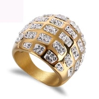 gold color plated argil finger ring high quality jewelry high quality titanium steel casting crystal rings for women