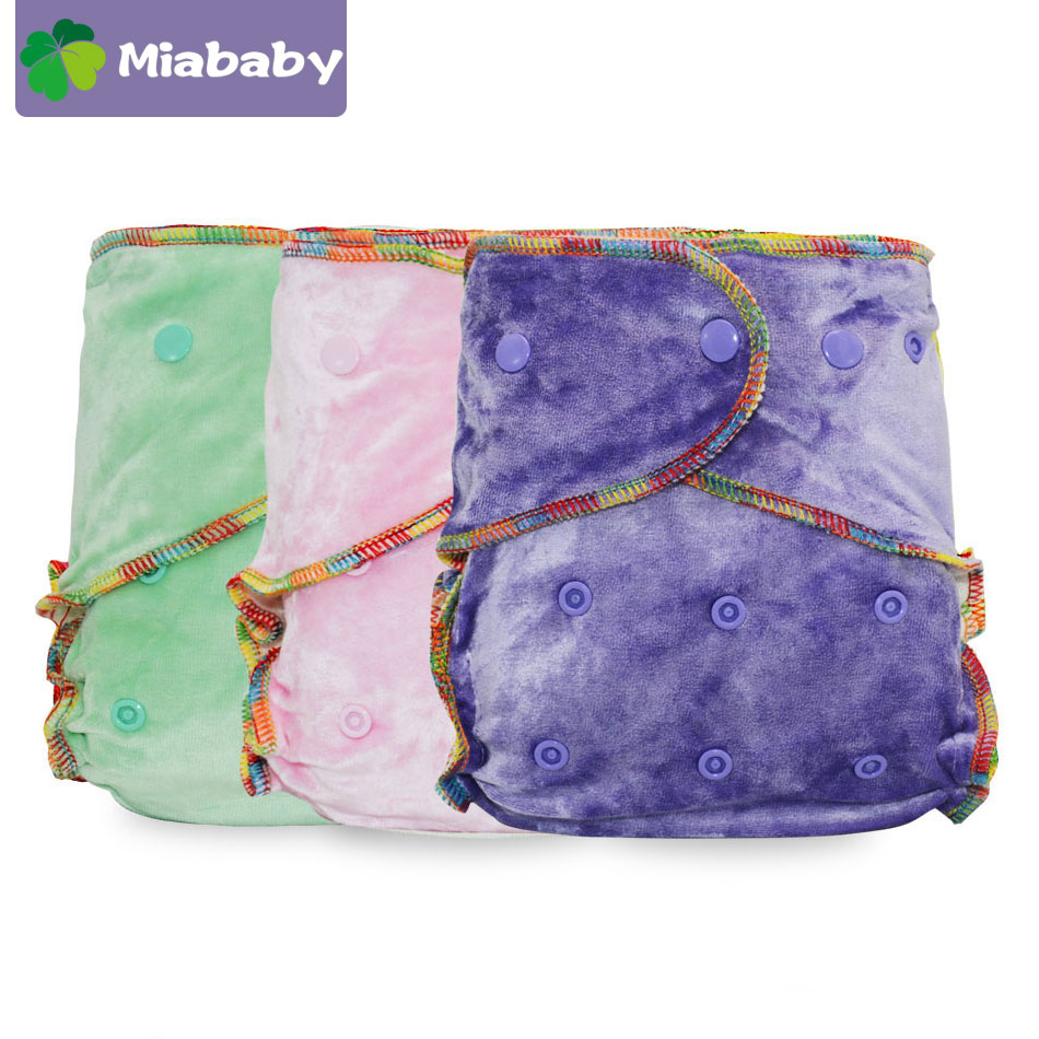 Miababy  Eco-friendly Cloth Diaper Bamboo Velour Fitted Baby Diaper Washale &Reusable cloth diapers wholesale freeshipping