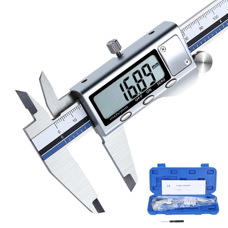 Paslanmaz çelik dijital kumpas tüm Metal sürmeli kumpas elektronik Messschieber yüksek hassasiyetli Schuifmaat ölçüm kalibre