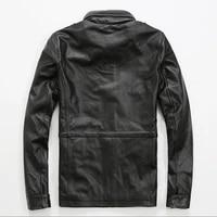 brand hot sale male vintage motorcycle men leather cow genuine leather mens biker coat stand collar zipper slim fit short coats