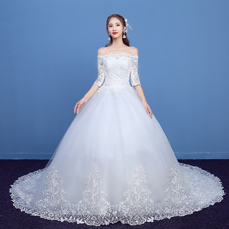 فستان زفاف فاخر ، دانتيل ، نصف كم ، رقبة قارب ، مع قطار ، برباط ، مقاس كبير ، 2021