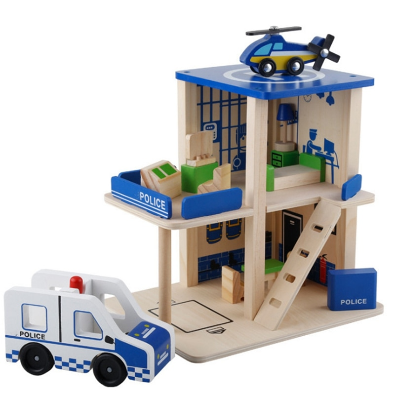 Crianças jogar casa role playing simulação diy hut estação de polícia estação de bombeiros post office brinquedo de madeira